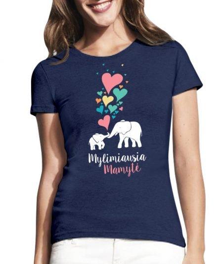 """Marškinėliai su spauda """"Drambliukų meilė"""" moteriski marskineliai, spauda ant marskineliu, balti marskineliai, tiesiogine spauda, spalvoti marskineliai, draugiu marskineliai, poru marskineliu"""