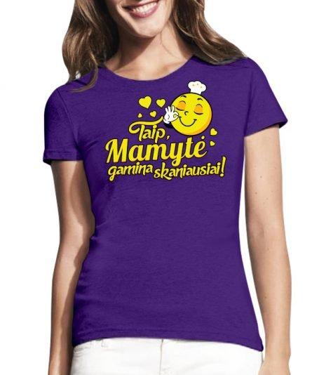 """Marškinėliai su spauda """"Mamytė gamina skaniausiai"""" moteriski marskineliai, spauda ant marskineliu, balti marskineliai, tiesiogine spauda, spalvoti marskineliai, draugiu marskineliai, poru marskineliu"""
