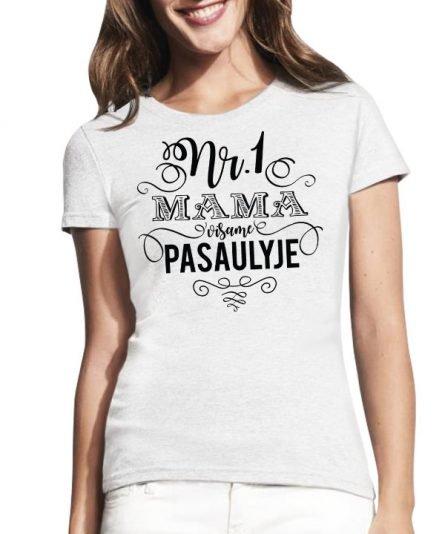 """Marškinėliai su spauda """"Nr. 1 mama"""" moteriski marskineliai, spauda ant marskineliu, balti marskineliai, tiesiogine spauda, spalvoti marskineliai, draugiu marskineliai, poru marskineliu"""