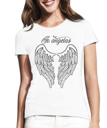 """Moteriški marškinėliai """"Angelas"""" , moteriski marskineliai su spauda, originalus poru marskineliai su spauda"""