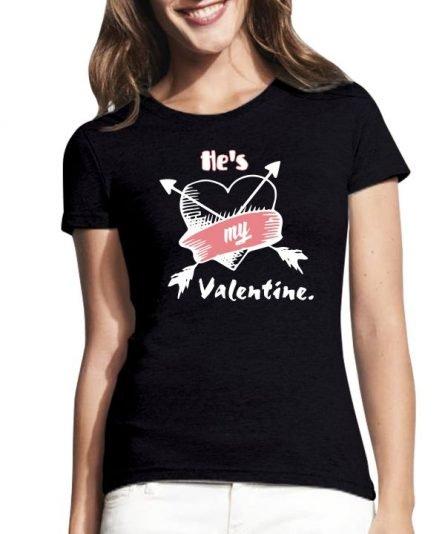 """Moteriški marškinėliai """"Jis mano Valentinas"""" , moteriski marskineliai su spauda, moteriski marskineliai valentino dienai, maike su spauda, marskineliai su uzrasu, marskineliai su nuotrauka"""