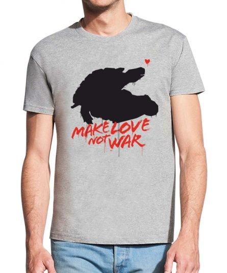 """Vyriski marskineliai """"Make love"""" Valentino dienai, vyriski marskineliai, spauda ant marskineliu, balti marskineliai, tiesiogine spauda, spalvoti marskineliai, linksmi marskineliai, gimtadienio marskineliai, poru marskineliai, Valentino diena"""