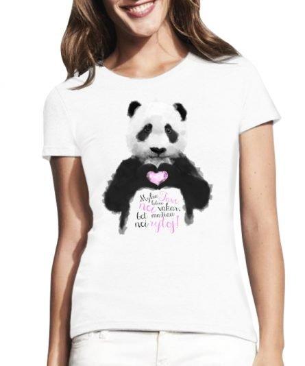 """Moteriški marškinėliai """"Pandos meilė"""" , moteriski marskineliai valentino dienai, moteriski marskineliai su spauda, originalus marskineliai valentino dienai"""