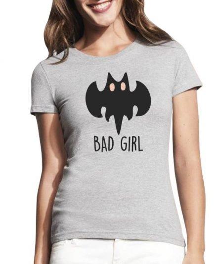 """Moteriški marškinėliai """"Bad girl"""" , marskineliai moterims su spauda, originalus poru marskineliai su spauda"""