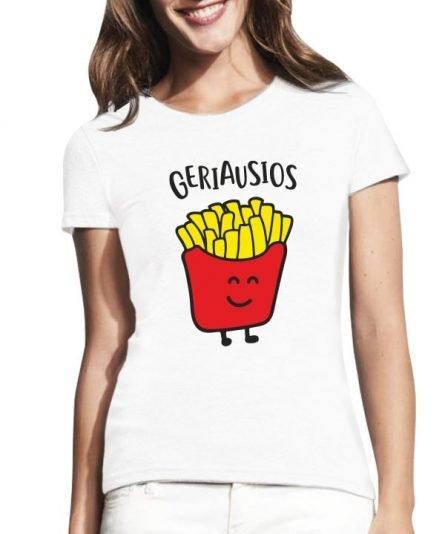 """Moteriški marškinėliai """"Bulvytės ir burgeris 1"""" , draugiu marskineliai su spauda, populiarus marskineliai draugems, moteriski marskineliai su spauda"""