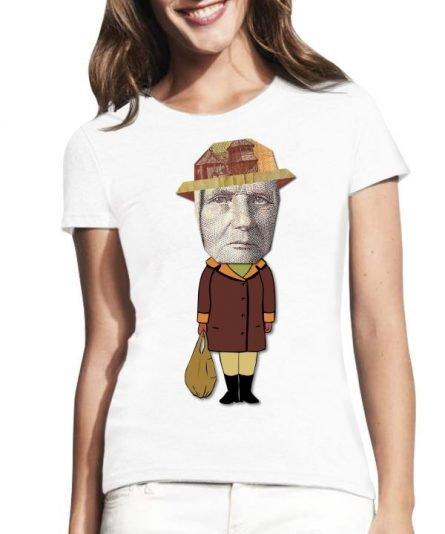 """Moteriški marškinėliai """"Žemaitė 1 Lt."""" , moteriski marskineliai su spauda, marskineliai su lietuviska simbolika"""