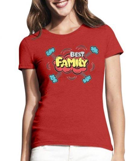 """Moteriški marškinėliai """"Best family"""" , moteriski marskineliai su spauda, seimos marskineliai su spauda, originalus marskineliai seimai"""