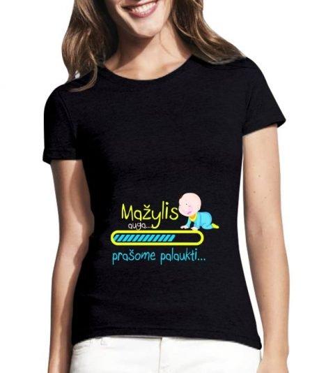 """Moteriški marškinėliai """"Mažylis auga"""" , marskineliai busimai mamytei, dovana mamai, marskineliai mamos dienai"""