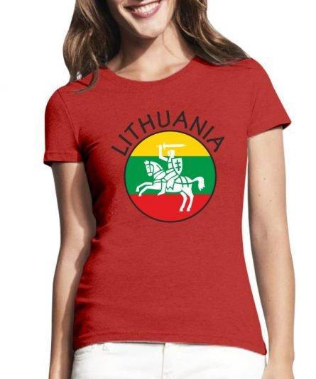 """Moteriški marškinėliai """"Myliu Lietuvą"""" , moteriski marksineliai su spauda, marskineliai su lietuvos simboliu, lietuviski marskineliai, marskineliai lauktuviu"""