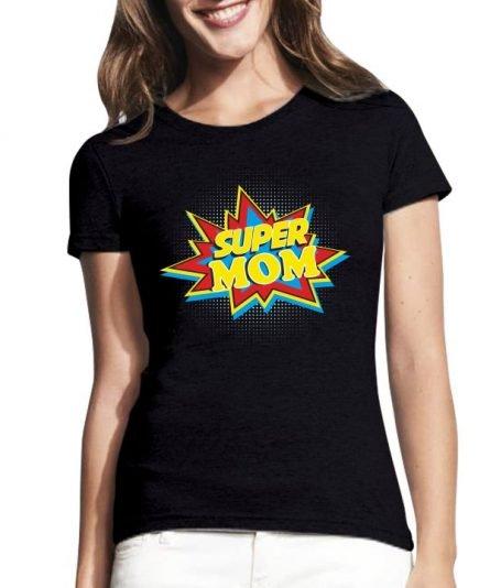 """Moteriški marškinėliai """"Super mom"""" , moteriski marskineliai su spauda, originalus marskineliai seimai, seimos marskineliai, marskineliai mamai, populiarus marskineliai seimai"""