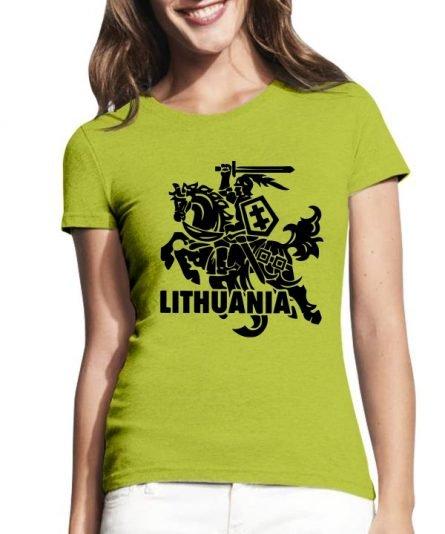"""Moteriški marškinėliai """"Juodas Vytis"""" , moteriski marskineliai su spauda, marskineliai su lietuvos simboliu, lietuviski marskineliai, marskineliai lauktuviu"""