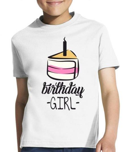 """Vaikiški marškinėliai """"Gimtadienio mergaitė"""" , vaikiski marskineliai su spauda, gimtadienio marskineliai vaikams, marskineliai gimtadienio proga, gimtadienio marskineliai mergaitei"""