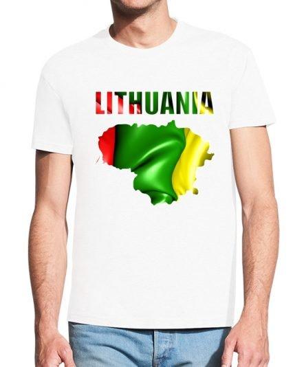 """Vyriški marškinėliai """"Lithuania"""" , vyriski marskineliai su spauda, marskineliai su lietuvos veliava, lietuviski marskineliai"""