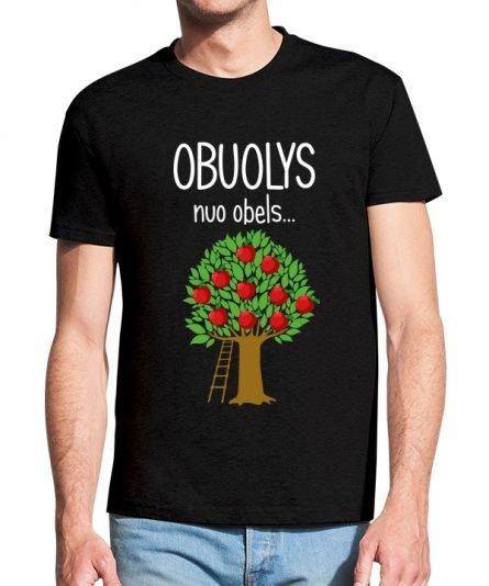 """Vyriški marškinėliai """"Obuolys nuo obels"""" , vyriski marskineliai su spauda, seimos marskineliai, originalus marskineliai seimai, marskineliai teciui ir sunui su spauda"""