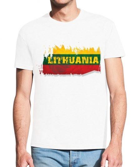 """Vyriški marškinėliai """"Vėliava"""" , vyriski marskineliai su spauda, marskineliai su lietuvos veliava, lietuviski marskineliai, marskineliai lauktuviu"""