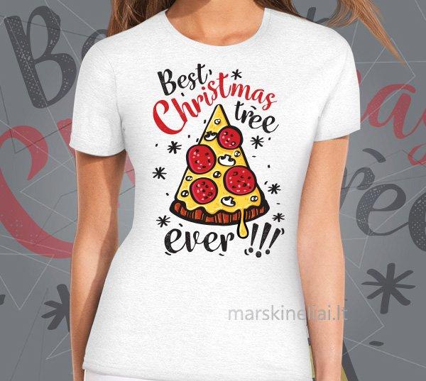 """Moteriški marškinėliai """"Kalėdinė pica"""""""