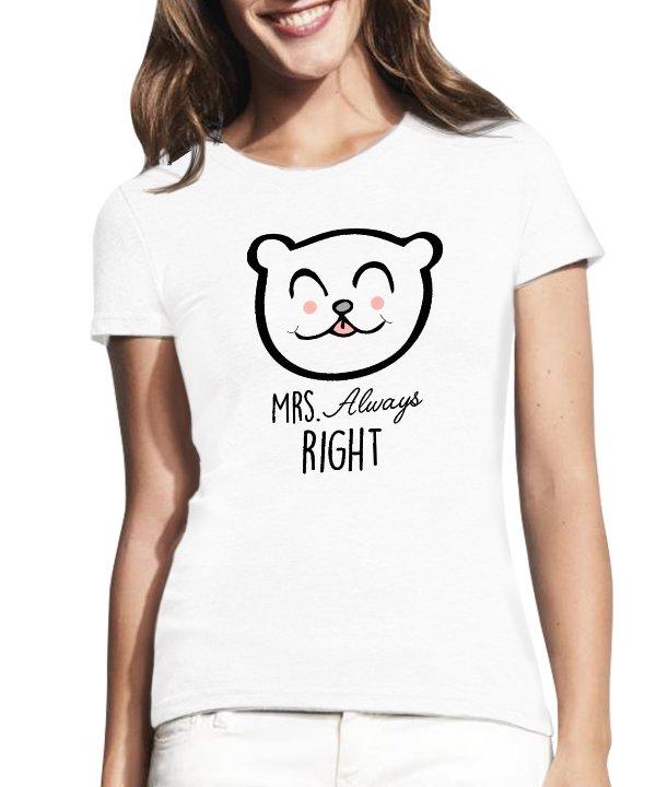 """Moteriški marškinėliai """"Always right"""" , moteriski marskineliai su spauda, marskineliai poroms su spauda, originalus poru marskineliai, marskineliai merginai"""
