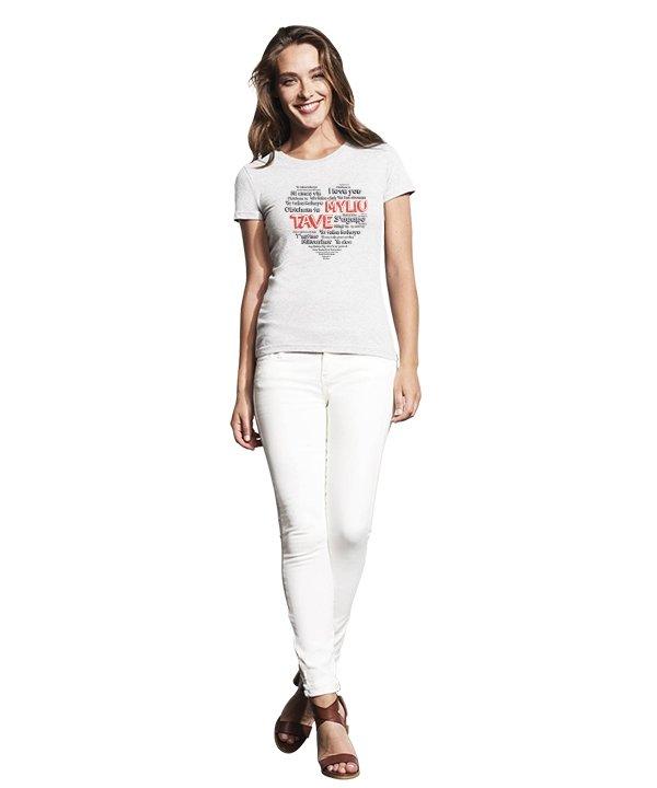 """Moteriški marškinėliai """"Meilės kalbos"""" , moteriski marskineliai su spauda, poru marskineliai su spauda, marskineliai poroms, marskineliai merginai"""