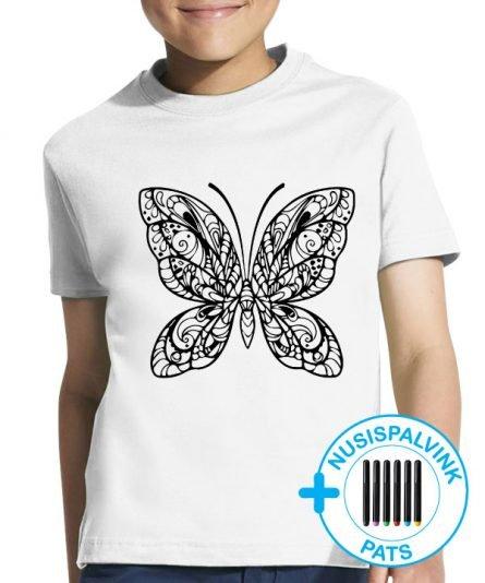 marskineliai mergaitems, marskineliai su drugeliu, vaikiski marskineliai
