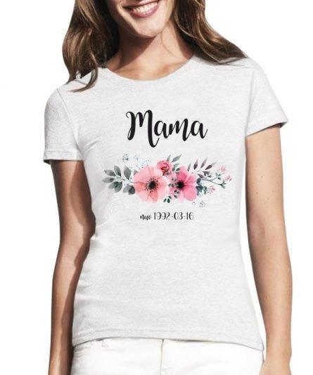 """Moteriški marškinėliai """"Mama su data"""" , marskineliai su uzrasu, marskineliai su nuotrauka, personalizuota dovana, marskineliai mamai, dovana mamai, marskineliai su gelemis"""