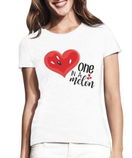 """Moteriški marškinėliai """"One in a melon"""" , marskineliai su tekstu, marskineliai su paveiksleliu, marskineliai poroms, orginalus poru marskineliai"""