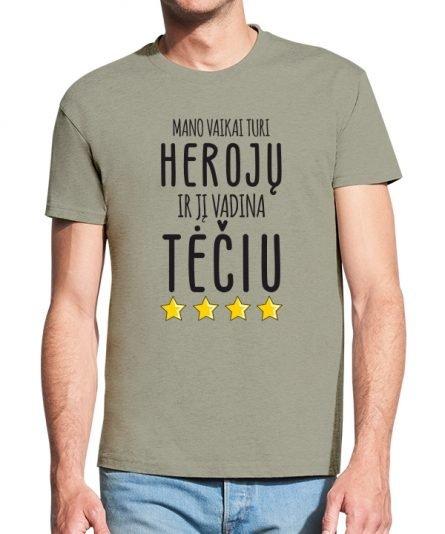 """Vyriški marškinėliai """"Vaikai turi herojų"""" , marskineliai teciui su uzrasu, marskineliai su spauda teciui, dovana tecio dienai., dovana teciui"""