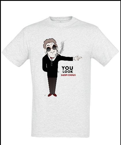"""Universalūs marškinėliai """"Tu atrodai įtartinas"""", Marskineliai.lt, susikurkite savo marškinėlius"""
