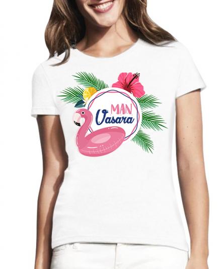 Moteriški marškinėliai man vasara, spalvingi marškinėliai, vasariški marškinėliai