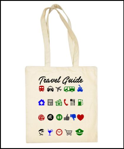 """Medvilninis pirkinių krepšys """"Travel Guide"""", Marskineliai.lt, susikurkite savo marškinėlius"""