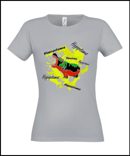 """Moteriški marškinėliai """"Hippopotamus Yellow"""", Marskineliai.lt, susikurkite savo marškinėlius"""