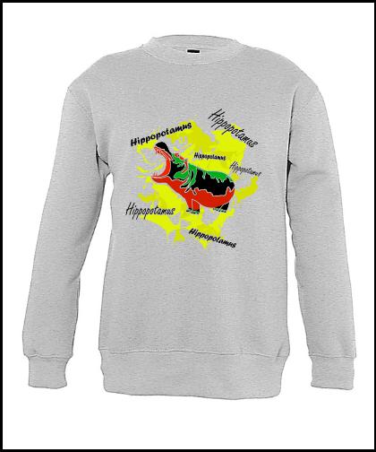 """Vaikiškas džemperis """"Hippopotamus Yellow"""", Marskineliai.lt, susikurkite savo marškinėlius"""