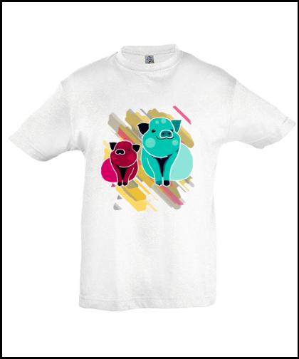 """Vaikiški marškinėliai """"Pigs In Rainbow"""", Marskineliai.lt, susikurkite savo marškinėlius"""