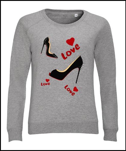 """Moteriškas džemperis """"Love Shoes"""", Marskineliai.lt, susikurkite savo marškinėlius"""