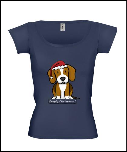 """Moteriški marškinėliai """"BeagChristmas Dblue"""", Marskineliai.lt, susikurkite savo marškinėlius"""