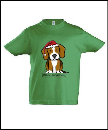 """Vaikiški marškinėliai """"BeagChristmas Green"""", Marskineliai.lt, susikurkite savo marškinėlius"""