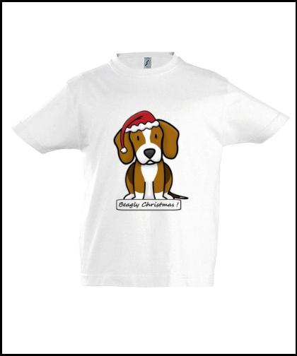 """Vaikiški marškinėliai """"BeagChristmas White"""", Marskineliai.lt, susikurkite savo marškinėlius"""