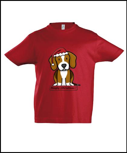 """Vaikiški marškinėliai """"BeagChristmas Red"""", Marskineliai.lt, susikurkite savo marškinėlius"""