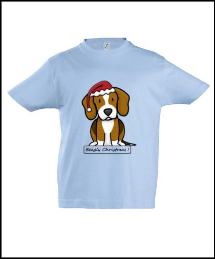 """Vaikiški marškinėliai """"BeagChristmas Blue"""", Marskineliai.lt, susikurkite savo marškinėlius"""