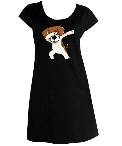 """Moteriški marškinėliai-suknelė """"Longer Beagle Black"""", Marskineliai.lt, susikurkite savo marškinėlius"""