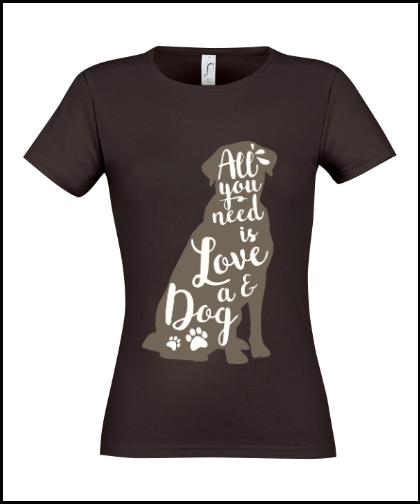 """Moteriški marškinėliai """"meilė šunims"""", Marskineliai.lt, susikurkite savo marškinėlius"""