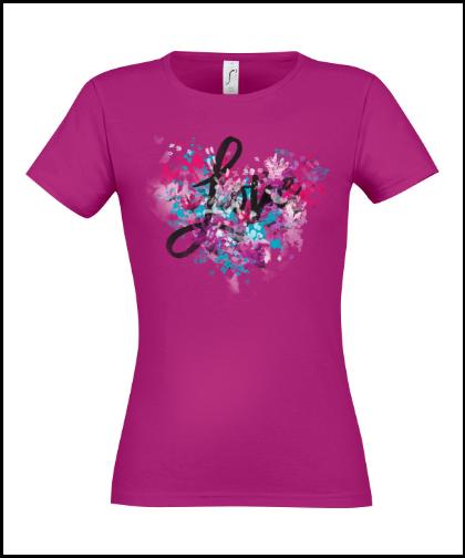 """Moteriški marškinėliai """"LOVE LOVE LOVE"""", Marskineliai.lt, susikurkite savo marškinėlius"""
