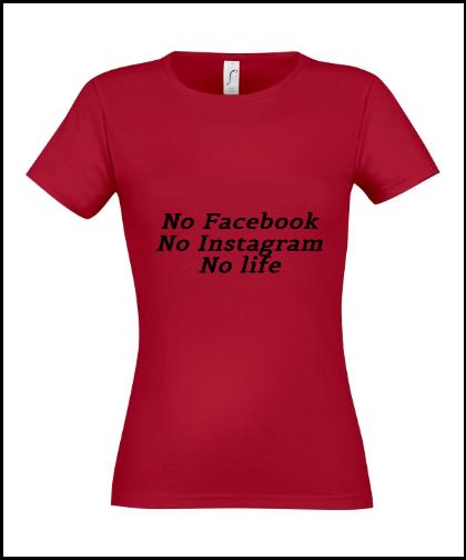 """Moteriški marškinėliai """"No life"""", Marskineliai.lt, susikurkite savo marškinėlius"""