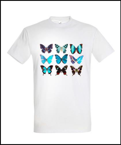 """Universalūs marškinėliai """"Blue butterflies"""", Marskineliai.lt, susikurkite savo marškinėlius"""