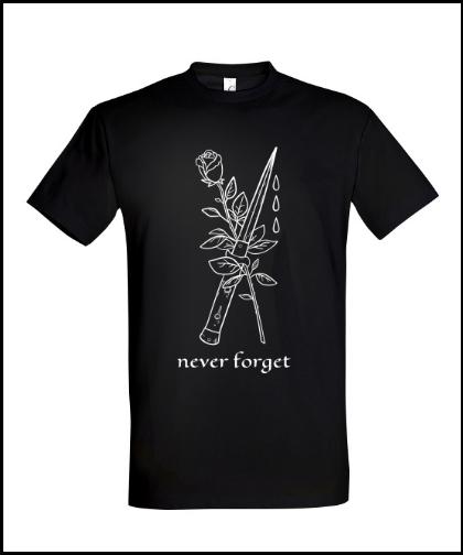 """Universalūs marškinėliai """"Never Forget"""", Marskineliai.lt, susikurkite savo marškinėlius"""