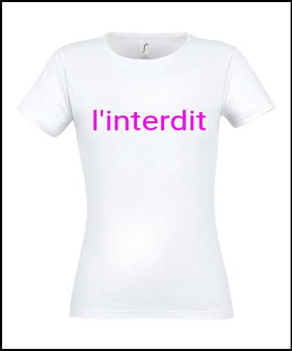 """Moteriški marškinėliai """"l'interdit"""", Marskineliai.lt, susikurkite savo marškinėlius"""