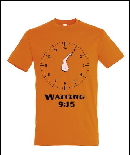 """Universalūs marškinėliai """"Waiting 9:15"""", Marskineliai.lt, susikurkite savo marškinėlius"""