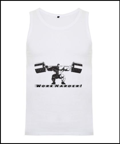 """Vyriški marškinėliai """"Work Harder"""", Marskineliai.lt, susikurkite savo marškinėlius"""