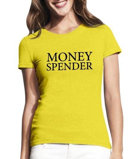 Moteriški marškinėliai su spauda Money spender