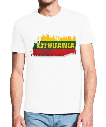 Vyriški marškinėliai su spauda Krepšinis Lietuvos širdis