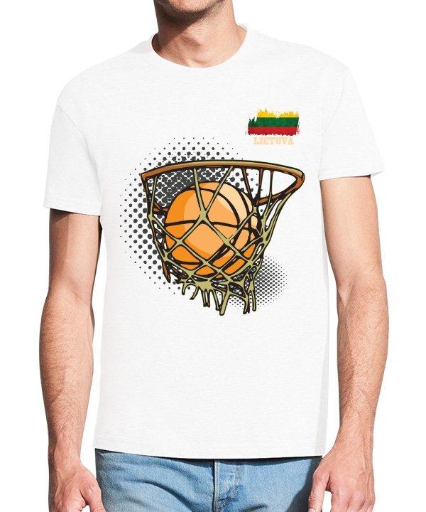 Vyriški marškinėliai su spauda Tegyvuoja krepšinis